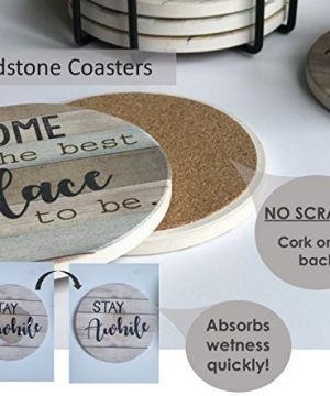 PANCHH Rustic Farmhouse Stone Cork Coasters For Drinks Absorbent Set Of 6 Coasters With Holder Best Housewarming Gifts For New Home Ideas Cute Kitchen And Coffee Table Decor Accessories 0 2 300x360