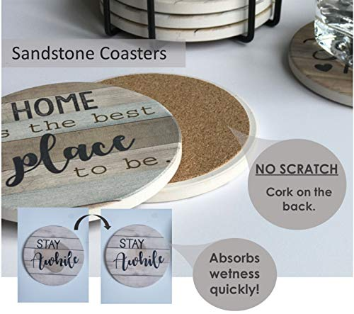 PANCHH Rustic Farmhouse Stone Cork Coasters For Drinks Absorbent Set Of 6 Coasters With Holder Best Housewarming Gifts For New Home Ideas Cute Kitchen And Coffee Table Decor Accessories 0 2