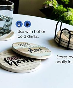 PANCHH Rustic Farmhouse Stone Cork Coasters For Drinks Absorbent Set Of 6 Coasters With Holder Best Housewarming Gifts For New Home Ideas Cute Kitchen And Coffee Table Decor Accessories 0 4 300x360
