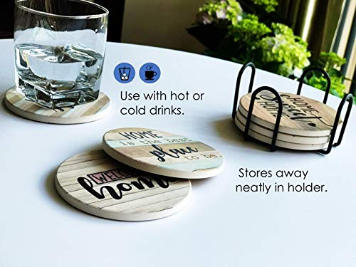 PANCHH Rustic Farmhouse Stone Cork Coasters For Drinks Absorbent Set Of 6 Coasters With Holder Best Housewarming Gifts For New Home Ideas Cute Kitchen And Coffee Table Decor Accessories 0 4