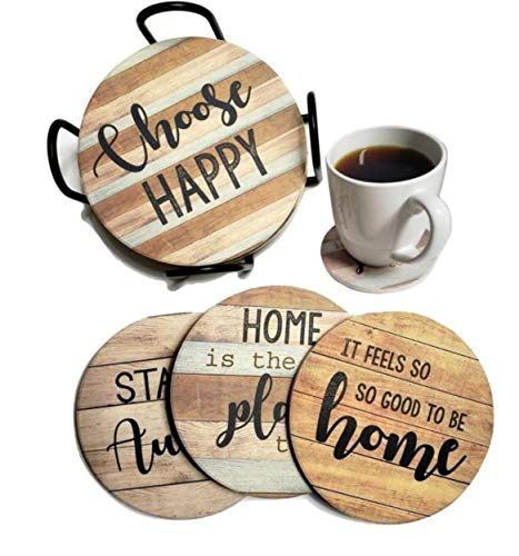 PANCHH Rustic Farmhouse Stone Cork Coasters For Drinks Absorbent Set Of 6 Coasters With Holder Best Housewarming Gifts For New Home Ideas Cute Kitchen And Coffee Table Decor Accessories 0