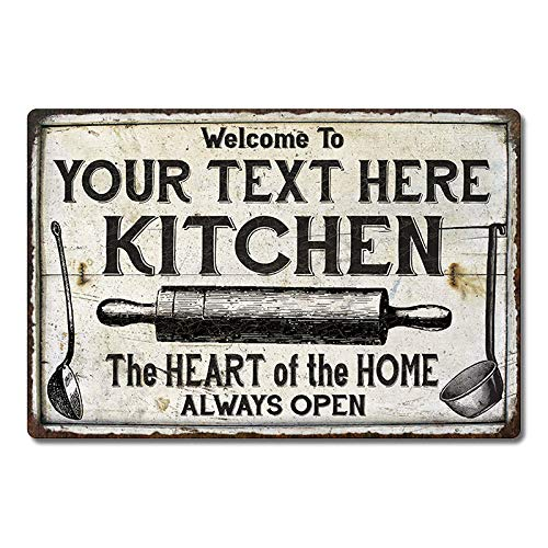 Personalized Kitchen Sign Pantry Home Decor Eat Vintage Farmhouse Decorations Name Signs Moms Wall Art Tin Retro Coffee Moms Gift 16 X 24 Matte Finish Metal 116240033001 0