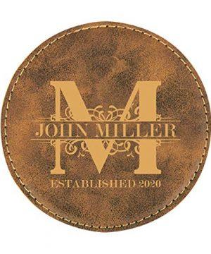 Personalized Rustic Royal Monogram Design Round Leatherette Coaster Set Of 6 0 0 300x360