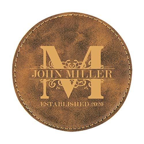 Personalized Rustic Royal Monogram Design Round Leatherette Coaster Set Of 6 0 0