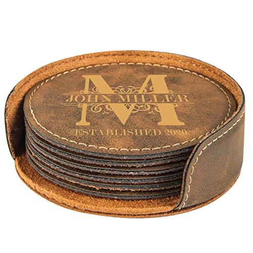 Personalized Rustic Royal Monogram Design Round Leatherette Coaster Set Of 6 0