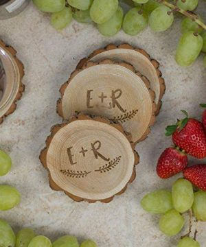Personalized Rustic Tree Slice Coaster Set Engraved Wood Initials With Wreath 0 0 300x360