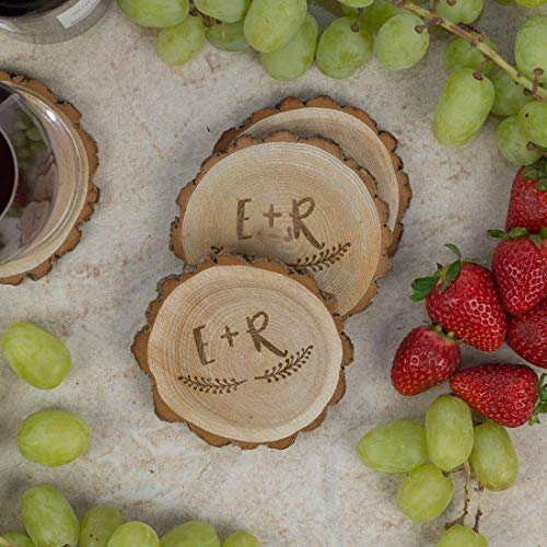 Personalized Rustic Tree Slice Coaster Set Engraved Wood Initials With Wreath 0 0