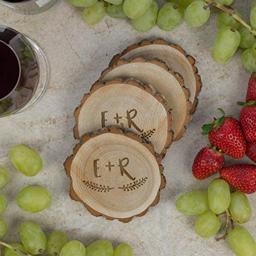 Personalized Rustic Tree Slice Coaster Set Engraved Wood Initials With Wreath 0