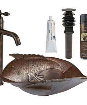 Premier Copper Products BSP1PV2FHDB 19 Inch Two Fish Copper Vessel Sink Faucet And Accessories Package 0 300x360