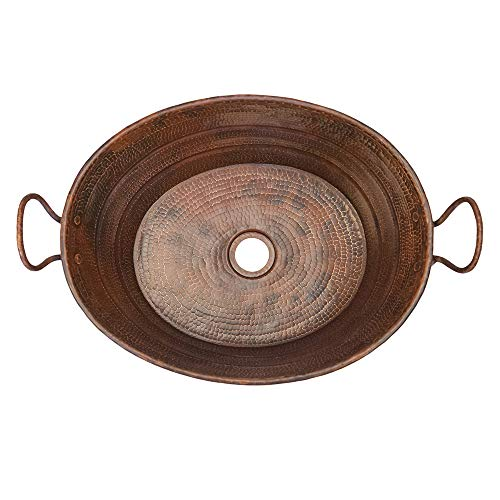 Premier Copper Products VOB16DB 19 Inch Oval Bucket Vessel Hammered Copper Sink With Handles 0 0