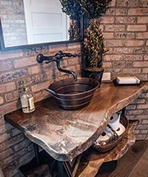 Premier Copper Products VOB16DB 19 Inch Oval Bucket Vessel Hammered Copper Sink With Handles 0 2 300x360