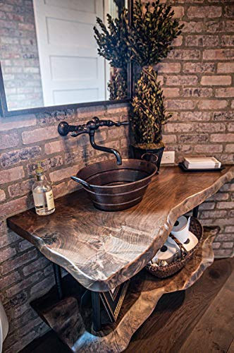 Premier Copper Products VOB16DB 19 Inch Oval Bucket Vessel Hammered Copper Sink With Handles 0 2
