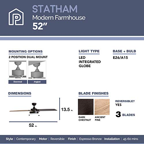 Prominence Home 51018 Statham Modern Farmhouse Ceiling Fan 52 Espresso 0 3