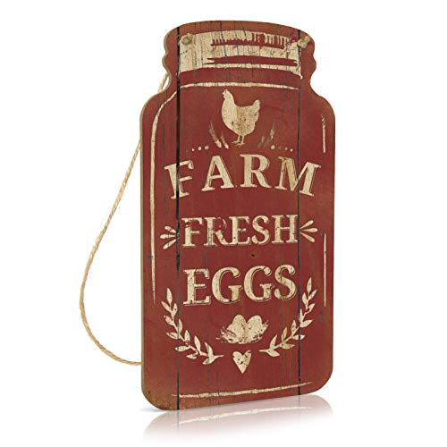 Putuo Decor Farm Decor Rustic Mason Jar Sign For Farmhouse Kitchen Chicken Coop Country Cottage 83x45 Inches Wood Hanging Plaque Farm Fresh Eggs 0