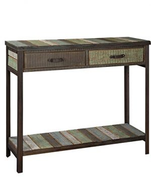 RANDEFURN Rustic Solid Wood Sofa TableConsole Table With 2 Drawers And Shelf 35x12x315 Inches Entryway Table With Storage Metal Legs Coffee Table Antique Country Style Living RoomHallwayBlue 0 300x360