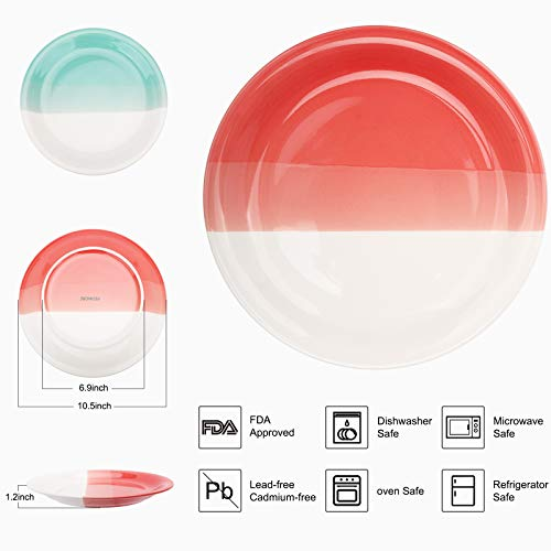 Reomore Dinner Plates 105 Inch Ceramic Plates Set With 6 Pieces Placemats For Dessert Pizza Pasta Set Of 6 Microwave And Dishwasher Safe Plates For Kitchen RedTurquoise 0 0