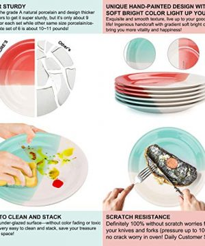 Reomore Dinner Plates 105 Inch Ceramic Plates Set With 6 Pieces Placemats For Dessert Pizza Pasta Set Of 6 Microwave And Dishwasher Safe Plates For Kitchen RedTurquoise 0 2 300x360