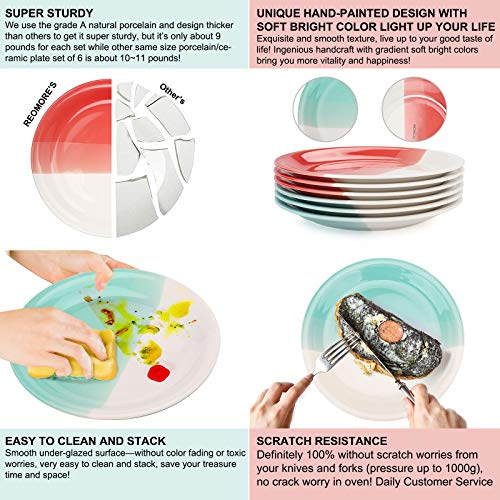 Reomore Dinner Plates 105 Inch Ceramic Plates Set With 6 Pieces Placemats For Dessert Pizza Pasta Set Of 6 Microwave And Dishwasher Safe Plates For Kitchen RedTurquoise 0 2