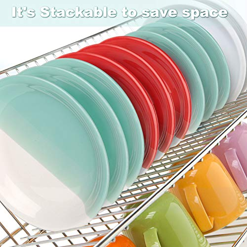 Reomore Dinner Plates 105 Inch Ceramic Plates Set With 6 Pieces Placemats For Dessert Pizza Pasta Set Of 6 Microwave And Dishwasher Safe Plates For Kitchen RedTurquoise 0 3