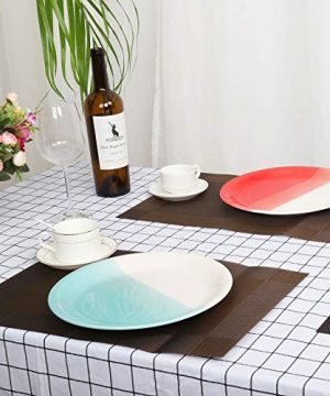 Reomore Dinner Plates 105 Inch Ceramic Plates Set With 6 Pieces Placemats For Dessert Pizza Pasta Set Of 6 Microwave And Dishwasher Safe Plates For Kitchen RedTurquoise 0 5 300x360