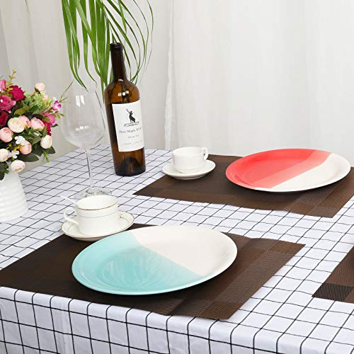Reomore Dinner Plates 105 Inch Ceramic Plates Set With 6 Pieces Placemats For Dessert Pizza Pasta Set Of 6 Microwave And Dishwasher Safe Plates For Kitchen RedTurquoise 0 5