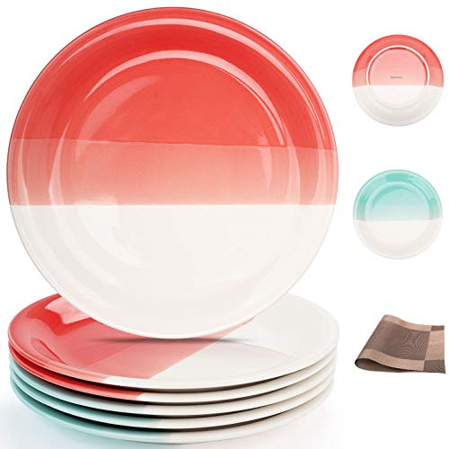 Reomore Dinner Plates 105 Inch Ceramic Plates Set With 6 Pieces Placemats For Dessert Pizza Pasta Set Of 6 Microwave And Dishwasher Safe Plates For Kitchen RedTurquoise 0