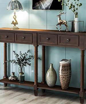 Retro Console Table Sofa Table For Entryway With Drawers And Shelf Living Room Table Espresso 0 300x360