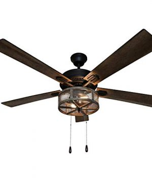 River Of Goods 52 Inch Width Farmhouse LED Ceiling Fan Brown 0 300x360