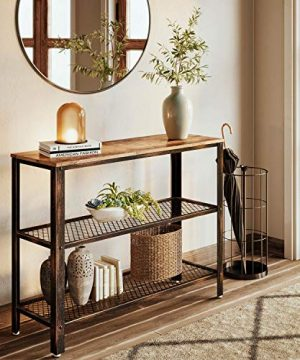Rolanstar Console Table Rustic Sofa Table With 2 Mesh Shelves Entryway Table With Retro Metal Frame For Entryway Living Room 0 300x360
