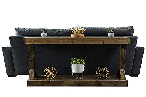Rustic Console Accent Table Solid Wood Distressed Walnut Hall Entryway Narrow Table Farmhouse Sofa Table Display Shelf Side Table Foyer Living Room Bedroom Table Home Furniture EBook By BADA Shop 0 0