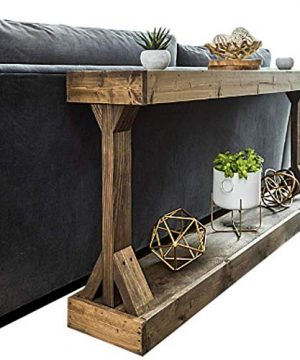 Rustic Console Accent Table Solid Wood Distressed Walnut Hall Entryway Narrow Table Farmhouse Sofa Table Display Shelf Side Table Foyer Living Room Bedroom Table Home Furniture EBook By BADA Shop 0 2 300x360