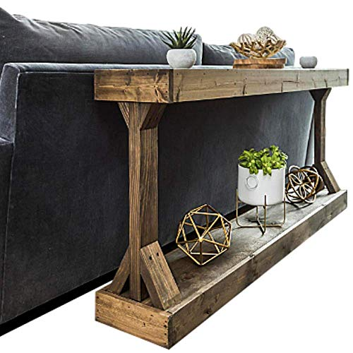 Rustic Console Accent Table Solid Wood Distressed Walnut Hall Entryway Narrow Table Farmhouse Sofa Table Display Shelf Side Table Foyer Living Room Bedroom Table Home Furniture EBook By BADA Shop 0 2
