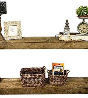 Rustic Console Accent Table Solid Wood Distressed Walnut Hall Entryway Narrow Table Farmhouse Sofa Table Display Shelf Side Table Foyer Living Room Bedroom Table Home Furniture EBook By BADA Shop 0 3 300x333