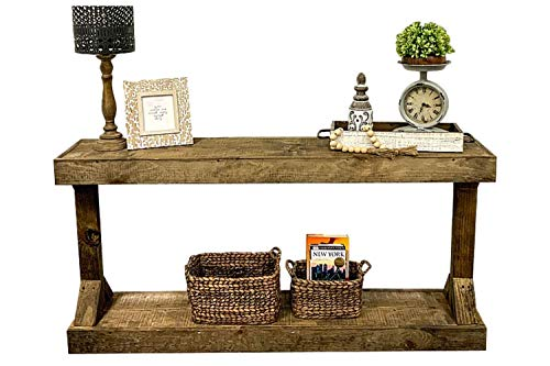 Rustic Console Accent Table Solid Wood Distressed Walnut Hall Entryway Narrow Table Farmhouse Sofa Table Display Shelf Side Table Foyer Living Room Bedroom Table Home Furniture EBook By BADA Shop 0 3