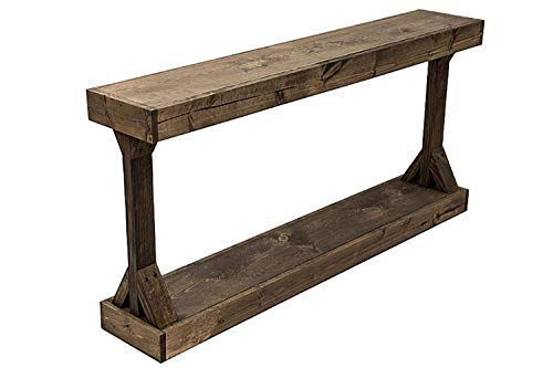 Rustic Console Accent Table Solid Wood Distressed Walnut Hall Entryway Narrow Table Farmhouse Sofa Table Display Shelf Side Table Foyer Living Room Bedroom Table Home Furniture EBook By BADA Shop 0