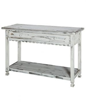 Rustic Cottage MediaConsole Table With 1 Drawer And 1 Shelf White Antique 0 300x360