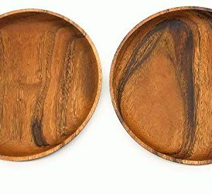 SDS Acacia Wood Plates Wooden Round Serving Tray Set Of 2 Round Appetizer Plates 10 Inch 0 0 300x276