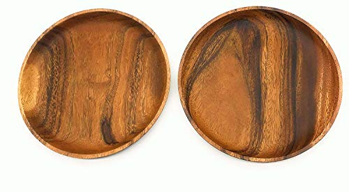 SDS Acacia Wood Plates Wooden Round Serving Tray Set Of 2 Round Appetizer Plates 10 Inch 0 0