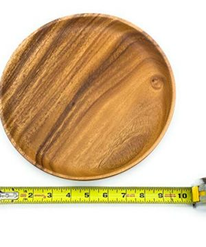 SDS Acacia Wood Plates Wooden Round Serving Tray Set Of 2 Round Appetizer Plates 10 Inch 0 5 300x360