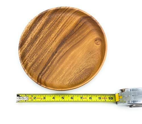 SDS Acacia Wood Plates Wooden Round Serving Tray Set Of 2 Round Appetizer Plates 10 Inch 0 5