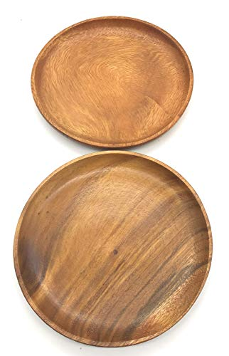 SDS Acacia Wood Plates Wooden Round Serving Tray Set Of 2 Round Appetizer Plates 10 Inch 0