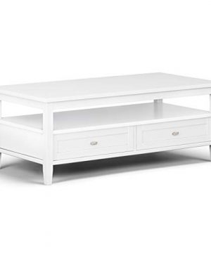 SIMPLIHOME Warm Shaker SOLID WOOD 48 Inch Wide Rectangle Rustic Coffee Table In White For The Living Room And Family Room 0 300x360