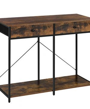 SONGMICS Console Table Sofa Side Table With 2 Drawers Metal Frame For Entryway Living Room Rustic Brown And Black ULGS022B01 0 300x360
