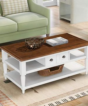 SSLine Wooden Coffee Table With Storage Drawer Shelves Farmhouse Living Room Cocktail Table Rustic Brown Finish Center Table With White Pinewood Leg For Home Office Reception Room 0 300x360