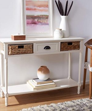 Safavieh Home Collection Christa Distressed White 3 Drawer Storage Console Table 0 0 300x360