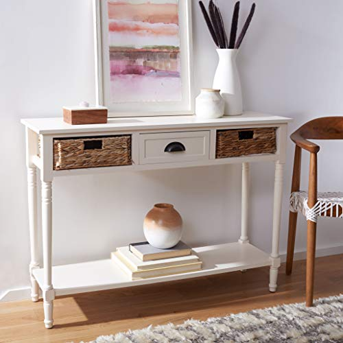 Safavieh Home Collection Christa Distressed White 3 Drawer Storage Console Table 0 0