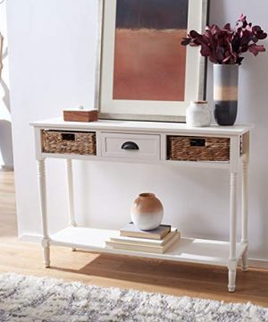 Safavieh Home Collection Christa Distressed White 3 Drawer Storage Console Table 0 300x360