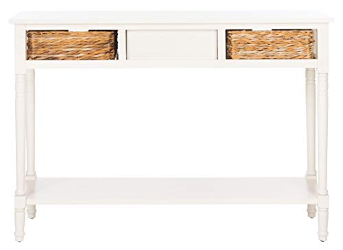 Safavieh Home Collection Christa Distressed White 3 Drawer Storage Console Table 0 5
