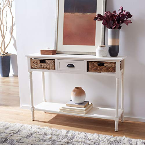 Safavieh Home Collection Christa Distressed White 3 Drawer Storage Console Table 0