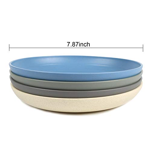 Shopwithgreen Lightweight Wheat Straw Plates 4 Pack 78 Unbreakable Dinner Plates Dishwasher Microwave Safe BPA Free For KidsChildrenToddler Adult 0 0